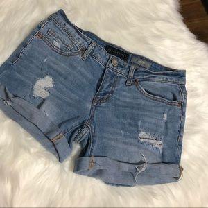 Aeropostale Shorts - Aeropostale Medium Wash Midi Distressed Shorts